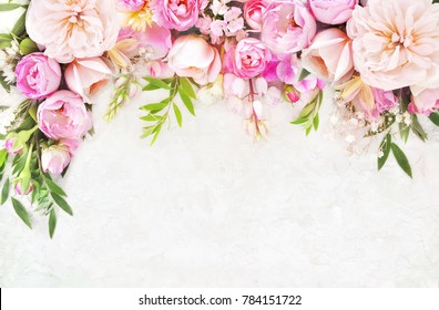 Pink flowers background images stock photos vectors shutterstock summer blossoming delicate roses on blooming flowers festive background pastel and soft bouquet floral card mightylinksfo
