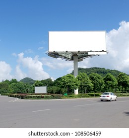 In the summer blue sky highways and billboards