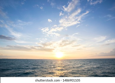 Summer and blue sky with blue sea waves soft surface and beauty sunset, Thailand
