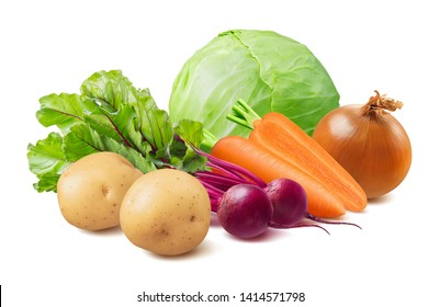 Summer borscht ingredients: beetroot, cabbage, carrot, potato and onion. Isolated on white background. Package design element with clipping path