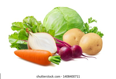 Summer borscht ingredients: red beet, cabbage, carrot, potato and onion. Isolated on white background. Package design element with clipping path