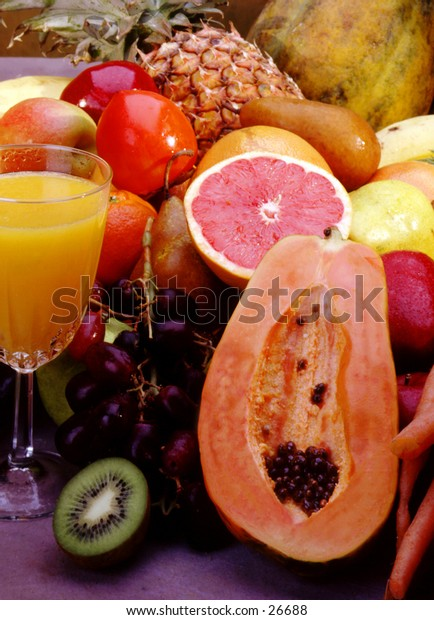 Summer bounty of fruits for drinks