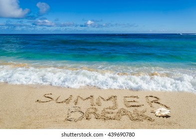 Summer break background on the sandy beach