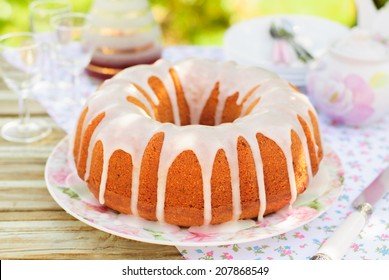 Summer Bundt Cake Topped with Sugar Glaze