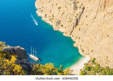 Summer butterfly valley sea beach view and cruise boat Oludeniz,Turkey