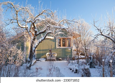 Summer cabin at winter