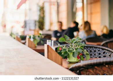 Summer cafe terrace tables. Slow life style travel