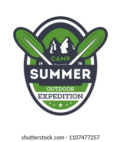 Summer camp expedition vintage isolated badge. Mountaineering symbol, forest explorer sign, touristic camping label, nature recreation illustration.