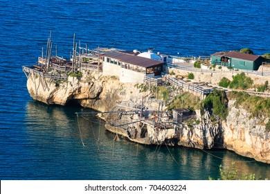 Summer cape Trabucco di Monte Pucci view, near  sea perched Peschici town, Gargano peninsula in Puglia, Italy