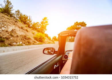 Summer car on road and free space for your text