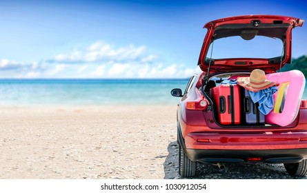 Summer car with suitcase and landscape of beach. Free space for your decoration.
