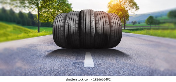 summer car tires on the street outside