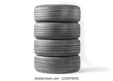 Summer car tires on a white background