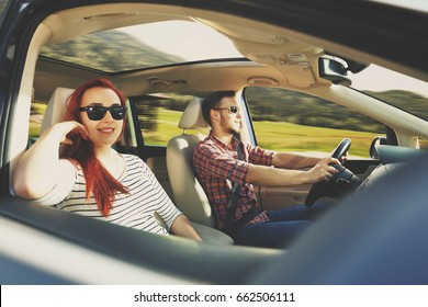 summer car trip and two lovers