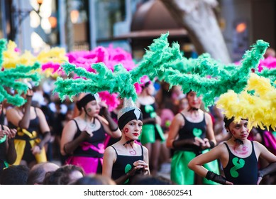 Summer celebrations in the city of Denia Alicante, carnival on the streets dressed people..