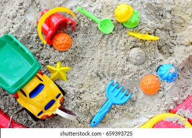 Summer Children's Toys on the sand, sand box