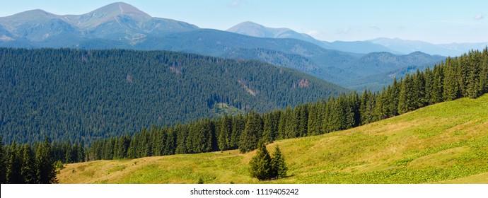 Summer Chornohora mountain ridge view from Vesnjarka plateau (Carpathian, Ukraine). Two shots stitch high-resolution panorama.