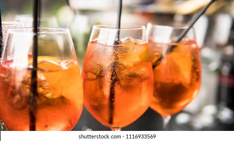 summer citrus cold alcohol drink Aperol Spritz close-up