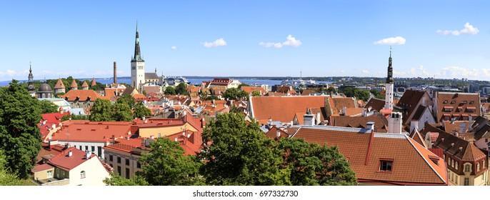 Summer city panorama of the old town of Tallinn, capital of Estonia