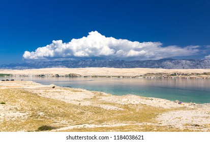 Summer clouds and beautiful Island of Pag, Croatia, Europe