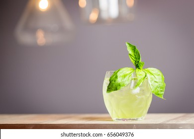 Summer Cocktail with Basil Leaf, Lime and Lemon, Horizontal Wallpaper, Free Space for Text