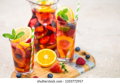 Summer cocktail, Sangria drink with fruit