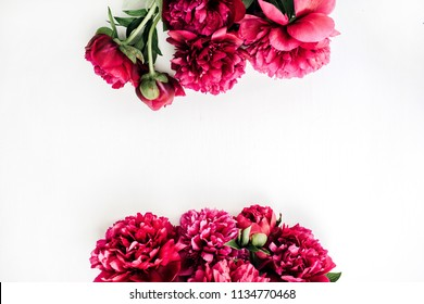 Summer composition with pink peony flowers bouquet on white background. Flat lay, top view blog hero header.
