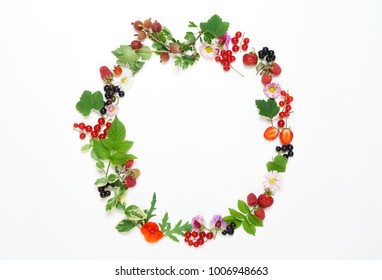 summer concept with flowers and berries