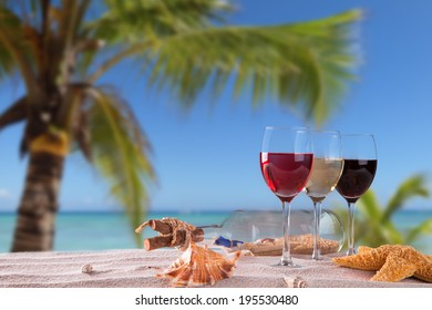 Summer concept, white nad red wine on tropical beach. Blue sky, sea