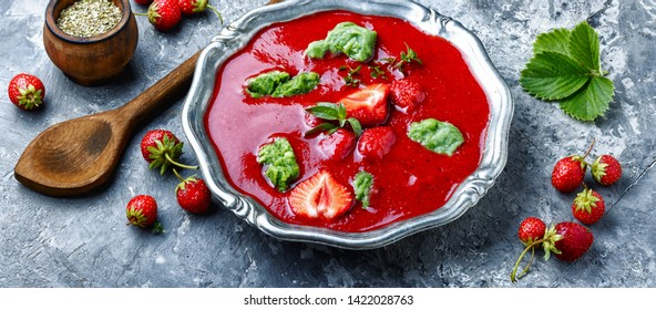 Summer cool soup with strawberry.Fruit soup.Summer food.