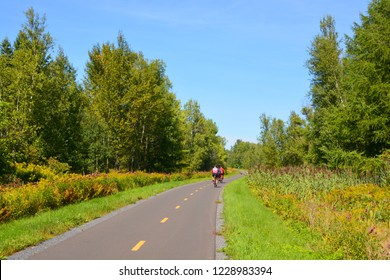 Summer cycle path landscape Granby/Bromont Quebec Canada