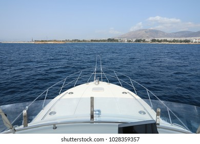 Summer day the end of the trip on the yacht coming back to Athens, Glyfada port, Greece.