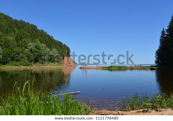 Summer day at the lake, nature reserve, pond