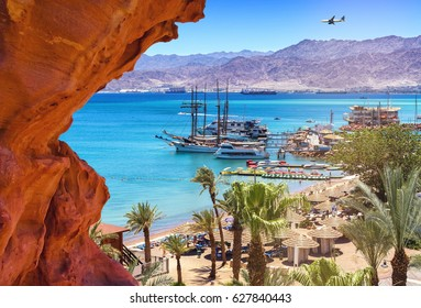 Summer day on the central beach of Eilat - famous international resort city, Israel