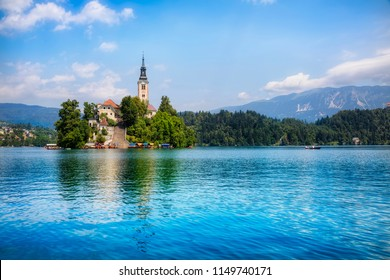 Summer Day on Lake Bled, with Bled Island, Slovenia