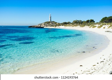 Summer day at Pinky Beach and the Bathurst Lighthouse on Rottnest Island, Perth, Western Australia, Australia.