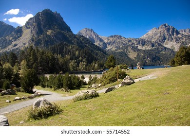 Summer day in Pyrenees. Sant Maurici lakeBeauty view