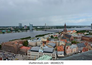 Summer day in Riga/Roofs of Riga/RIGA, LATVIA – JULY 2017: Riga cityscape in summer day
