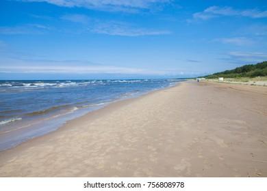 Summer day at the seashore of Riga gulf, Baltic Sea, Jurmala, Latvia