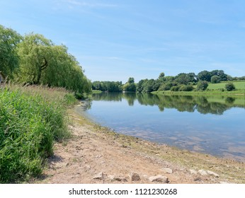 A summer day at Staunton Harold Reservoir, Derbyshire, the surrounding trees and lush grass reflected in the water