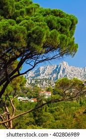 Summer day view  of Mount Ai-Petr rom Vorontsov garden, Crimea.