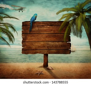 Summer design -  Tropical beach  with wooden sign at the sea. Ocean design with palms and beach
