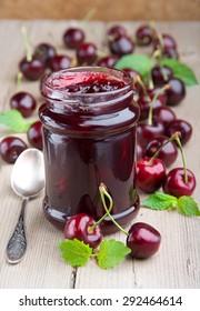 Summer dessert. Fresh sweet cherry and sweet cherry jam.