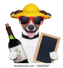 summer dog with a bottle of wine and blackboard