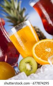 Summer drink with blur beach on background