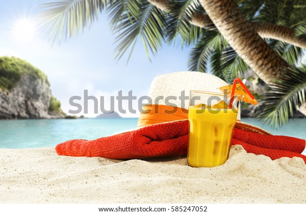 summer drink on sand and landscape of sea