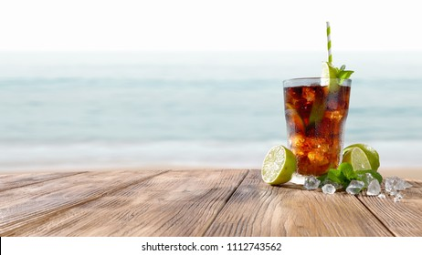 summer drink and sea landscape