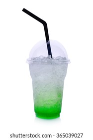 Summer drinks with ice on white background