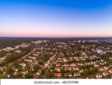 Summer evening aerial image of the city of Erlangen in Bavaria in Germany shot with drone