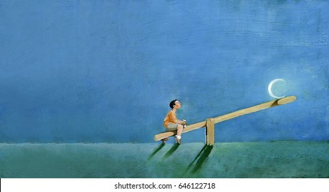 A summer evening a child sitting on a seesaw plays with the moon